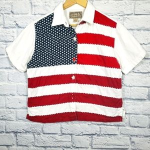 VTG American Flag 4th of July button up shirt